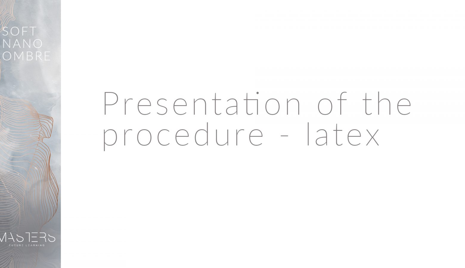 Presentation of the procedure
